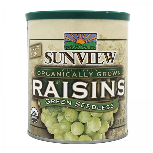 Sunview Organic Raisins Green Can